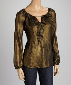 Take a look at this Antique Black Ruffle Trim Top by Cupio on #zulily today! $27 !!