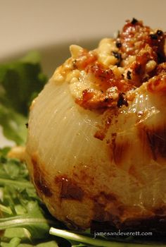 Grilled Blue Cheese & Bacon Stuffed Onions. The tender mellow flavor of the roasted onion melts together perfectly with the blue cheese and bacon to create a side dish that is out of this world!