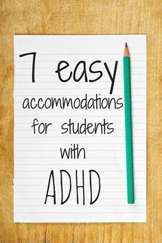 7 Easy Accommodations for Students with ADHD. 7 Easy Accommodations for Students with ADHD. Students with ADHD are successful in the general education classroom with [. Adhd Strategies, Teaching Strategies, Teaching Tips, Behaviour Management, Classroom Management, Special Education Teacher, Teacher Resources, Accommodation For Students, Resource Room