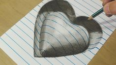 Drawing Heart  - Trick Art on Line Paper - Drawing with Charcoal Pencils - VamosART - YouTube