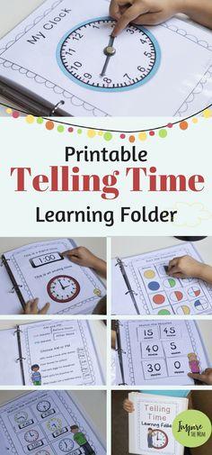 Printable Telling Time Learning Folder - Inspire the Mom school math activities kindergarten