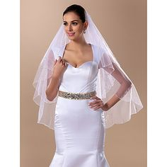 Two-tier Fingertip Wedding Veil With Beading(More Colors) – USD $ 39.99