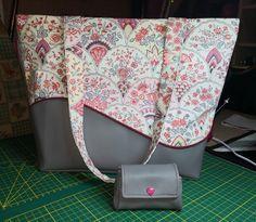 Sac Samba gris-rose-bordeaux cousu par Christelle - Patron sac cabas Sacôtin