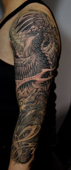 Chronic Ink Tattoo - Toronto Tattoo In progress phoenix and dragon 3/4 sleeve tattoo done by BKS.