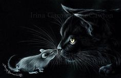 Black Cat Great Trust Print by I Garmashova I Love Cats, Crazy Cats, Cute Cats, Scratchboard Art, Black Cat Art, Black Cats, Image Chat, Photo Chat, Cat Mouse