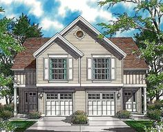 Plan 69377AM: Curb Appeal in Traditional Duplex Plan