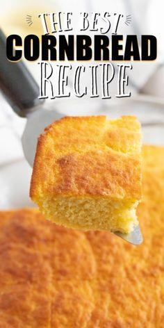 Easy Cornbread Recipe (From Scratch) - Spaceships and Laser Beams Cornbread Recipe From Scratch, Southern Cornbread Recipe, Homemade Cornbread, Sweet Cornbread, Healthy Cornbread, Cornbread Casserole, Cornmeal Recipes, Banana Bread Recipes, Baking Recipes