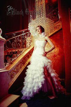 Wedding dress. Tightening corset. Ruffle by BlackOrchidFashion