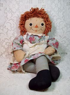 "Rare ""Silsby"" Raggedy Ann by Georgene w/ Blue Striped Legs"