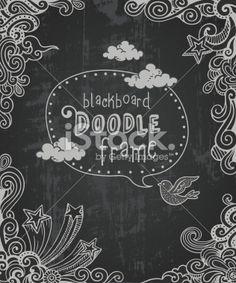 Blackboard Doodle Frame Royalty Free Stock Vector Art Illustration