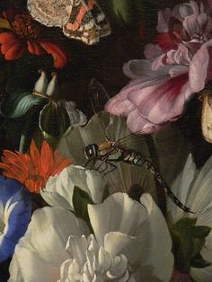 Vase of Flowers by Rachel Ruysch The Netherlands 1689 Oil Detail