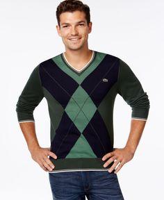 9c2ceca53ef Lacoste Argyle V-Neck Sweater Crew Neck