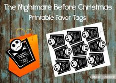 The Nightmare Before Christmas party supplies package, Jack and Sally, Nightmare Before Christmas favor tags #halloweenpartysupplies