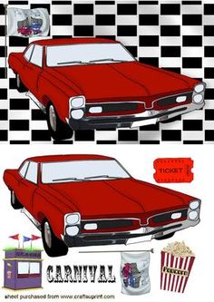 DRIVE IN MOVIE WITH POPCORN RED CAR on Craftsuprint - Add To Basket!