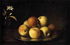 Juan de Zubaran (1620-1649), Still Life with Plate of Apples and Orange Blossom, 1640