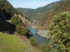 Creek water rushing into the Klamath River south of Happy Camp