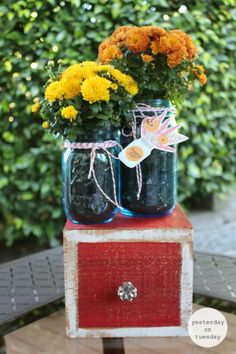 Happy Fall Mason Jar Gift and Tags | Yesterday On Tuesday