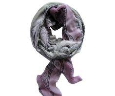 Foulard modal et soie imprimé lilas- Modèle CAGLIARI à découvrir sur Saheline.com | Saheline.com