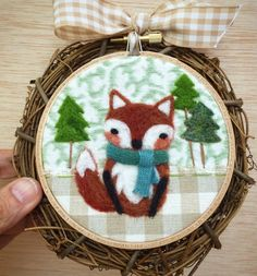 """Woodland Fox Needle Felted 4"""" Embroidery Hoop Art in Willow Wreath Frame with Ribbon by Val's Art Studio"""