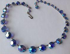 Vintage Art Deco Blue Borealis Paste Necklace | eBay