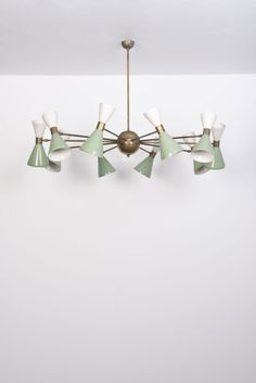 Anonymous; Enameled Metal and Brass Ceiling Light by Stilnovo, 1950s.