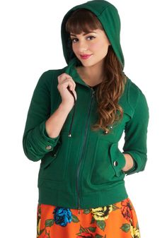 Leipzig Hoodie in Emerald in M, #ModCloth