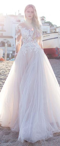 Fascinating Tulle Scoop Neckline See-through A-line Wedding Dress With Lace Appliques & Bowknot