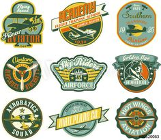 Aviation badges collection in retro style