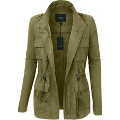 LE3NO Womens Lightweight Stand Collar Utility Safari Military Jacket ($26) ❤ liked on Polyvore featuring outerwear, jackets, lightweight safari jacket, green jacket, lightweight field jacket, zip front jacket and utility jacket