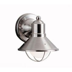 Seaside Outdoor Wall Lantern in Brushed Nickel by Kichler. $50.00. 9021NI Features: -One light outdoor wall lantern.-Brass body.-Medium base to accommodate 1 regular incandescent bulb (not included).-Suitable for wet locations. Color/Finish: -Brushed nickel finish. Specifications: -Maximum wattage: 60W.-Voltage: 120V. Dimensions: -Dimensions: 7.5'' H x 6'' W x 6.5'' D. Collection: -Seaside collection.