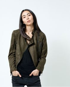 Show details for Olive Faux Suede Moto Jacket