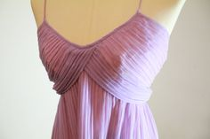 Vintage Maxi Dress⎮Lilac and Pale Pink Pleated Chiffon Dress⎮1970s Grunge A-Line Bridesmaid, Wedding, Prom, Floor Length Flowing Dress