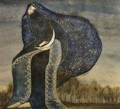 Moon Goddess by Anastasia Zhdann Art And Illustration, Illustrations, Megan Hess, Moon Goddess, Moon Art, Our Lady, Stars And Moon, Anastasia, Art Inspo