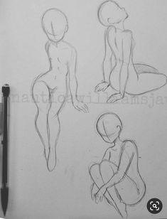 Art Drawings Sketches Simple, Cute Drawings, Art Inspiration Drawing, Art Poses, Drawing Reference Poses, Drawing Base, Cartoon Art Styles, Drawing People, Art Tutorials