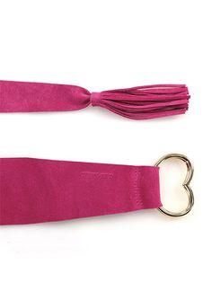 TWIN-SET SIMONA BARBIERI - Cinture - Accessori - Cintura in pelle scamosciata, con fibbia a cuore gold e nappina. Altezza 70 mm. - ECHINACEA - € 34.00