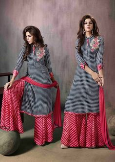 black-checkered-casual-wear-indian-palazzo-kamiz-suit-in-georgette-- great pattern combo --Black And Red Georgette palazzo suit Resham work on top Comes with a matching bottom and dupatta Can be stitched size upto 42 inchesBrilliant Lace Georgette Na Salwar Designs, Kurta Designs Women, Kurti Designs Party Wear, Pakistani Dresses, Indian Dresses, Indian Outfits, Dress Neck Designs, Blouse Designs, Casual Dresses