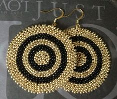 Beaded Disk Earrings - Big Bold Black and Gold Goddess Seed Bead Earrings - Beaded Jewelry Seed Bead Jewelry, Seed Bead Earrings, Beaded Earrings, Seed Beads, Beaded Jewelry, Beaded Bracelets, Crochet Earrings, Necklaces, Big Earrings