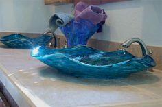 Baptismal Font, Vessel Sinks, Glass Sink, Vessel Sink, Glass Sinks, Hand Blown Glass Sink, Glass Bowl Sink and Glass Pedestal Sink