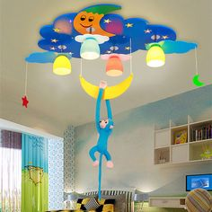 Kid's Room Lighting monkey&moon&Star Ceiling Lights Child Bedroom Cartoon 4 Lamps+LED for Living Room Home Decoration