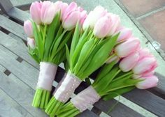 Spring wedding idea for bridesmaids bouquet. NOt the color but the presentation and wrapping