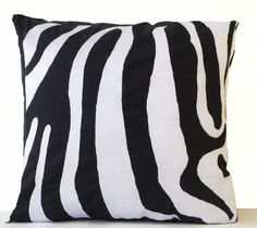 Zebra Striped Hand Embroidered Accent Pillow Case Black White Linen Animal Cushion