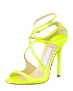 Lang Patent Strappy Sandal, Yellow by Jimmy Choo at Bergdorf Goodman.