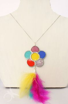 Necklace with big medallion flower multicolor in stained
