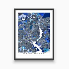 Providence map art print featuring the city of Providence, Rhode Island, USA. This Providence city map has a modern design made from many little blue