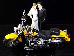 Motorcycle Biker Wedding Cake Topper With 2011 Harley Davidson Fatboy Couple 1