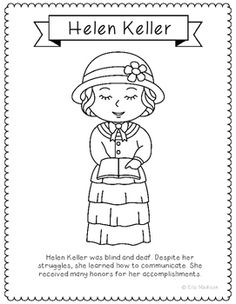 helen keller coloring page craft or poster with mini biography braille