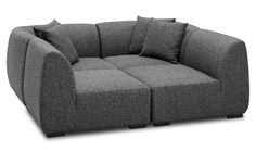 sleek, low-slung, modular sectional like this one, especially how it can be rearranged into a lounger for two.