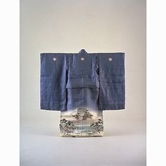 Childs Furisode (Long-Sleeved Kimono) with Famous Sights of Uji on Parti-colored Ground, Meiji Period, 19th c, Kyoto National Museum