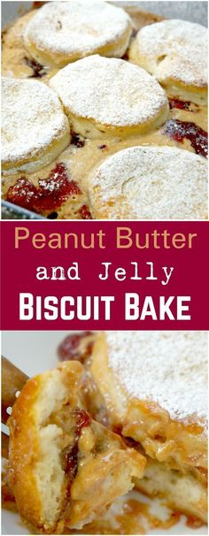 Peanut Butter and Jelly Biscuit Bake. Easy breakfast recipe. Peanut butter and jelly sandwich recipe.