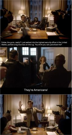 I love this: THEY'RE AMERICANS! Fear us. Especially us American fangirls. We. are. dangerous.